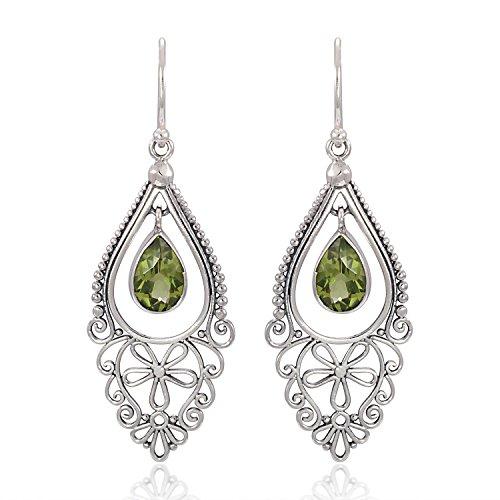 925 Sterling Silver Bali Filigree Chandelier Design w/ Green Peridot Dangle ()