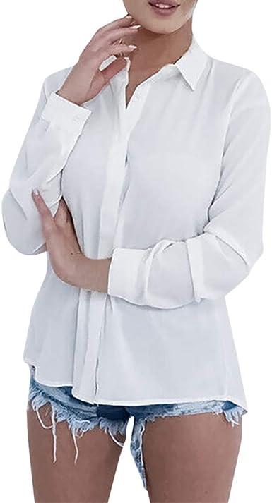 WARMWORD Mujer Tops Manga Larga Casual Moda Camisa Escotado por detrás Tops Cordón Blusa Asimétrico Blusa Patchwork Estilo de otoño Camisa Elegante para Damas Sexy Mujer Ropa: Amazon.es: Ropa y accesorios