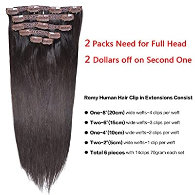 Clip in Human Hair Extensions Straight Human Hair with Clips