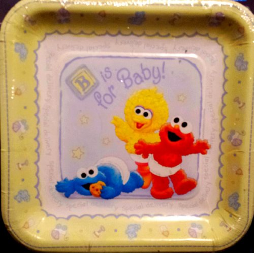 Sesame Street 1st Birthday Baby Shower Lunch Plates 8 Count