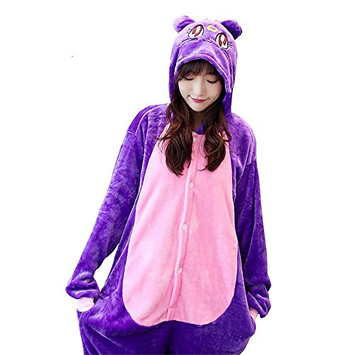 Luna Cat Sailor Moon Costume (Caleen6 Unisex Adult Pajamas - Plush One Piece Cosplay Sailor Moon Cat Luna Animal Costume M)