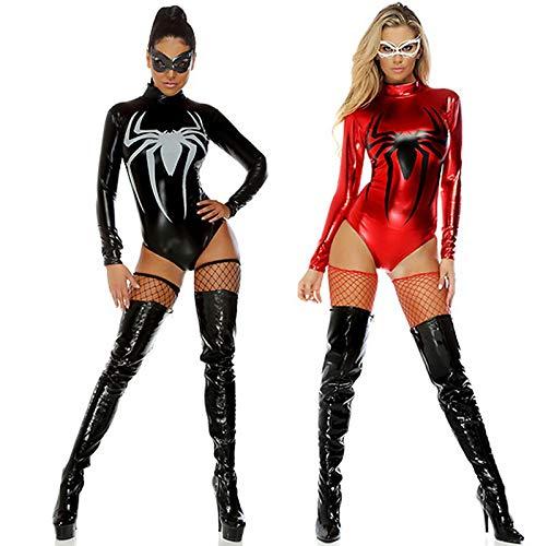 XSQR Notturni Red Woman Black Tuta Body Cat Bar Man Halloween Stretti PVC Spider Costume Sexy Costumi Da 1qrWAPwx1T