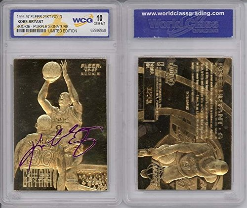 Gold Rookie Card (KOBE BRYANT 1996-97 Fleer ROOKIE Signature 23KT Gold Card Sculptured GEM MINT)