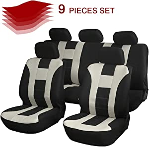cciyu Seat Cover Universal Car Seat Cushion w/Headrest Cover - 100% Breathable Car Seat Cover Washable Auto Covers Replacement fit for Most Cars(Beige/Black)