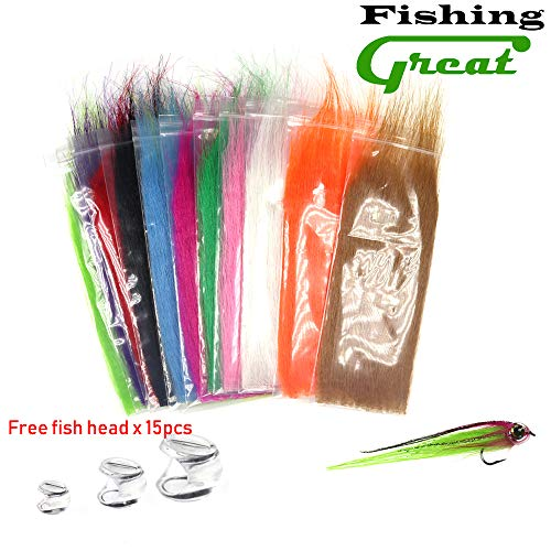 (Greatfishing 12packs Mix Color Long Fiber Fly Tying Materials Craft Fur Streamer Bait Fish Fly Tying Material Furable Fiber Furable Soft Synthetic Fiber Bait Fish Salt Water Patterns Tail and Wing)