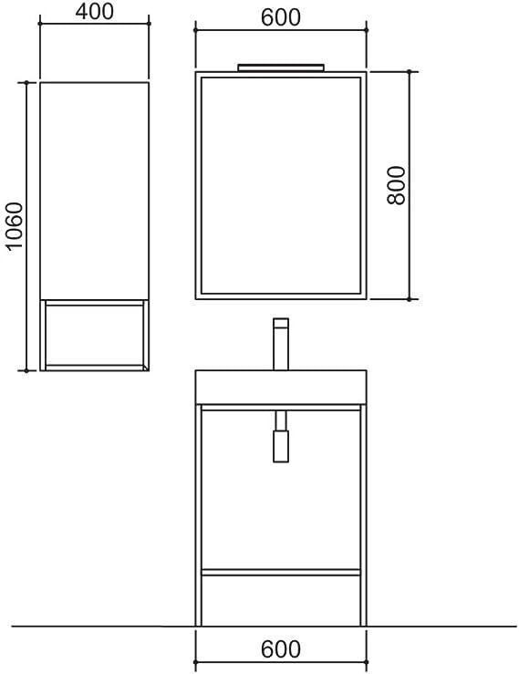 Vinci Salgar - Juego de lavabo con espejo, lámpara LED y armario colgante (60-80 cm): Amazon.es: Juguetes y juegos