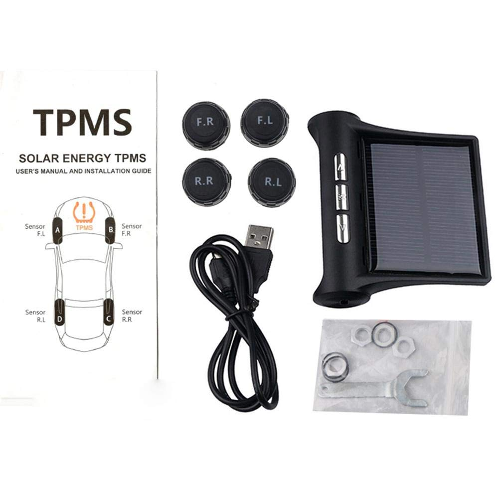 LCD Display USB Charging Wireless Car Real-time Alarm System Solar Power with 4 Pcs External//Internal Sensors DIY Tire Gauge Temperature FOONEE Car RV TMPS Tire Pressure Monitoring System
