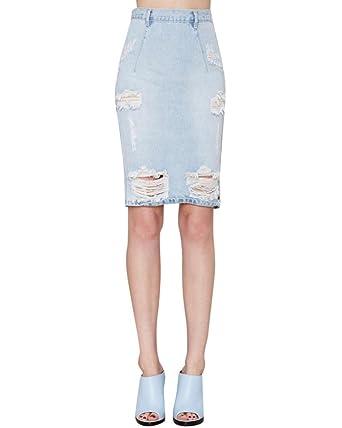 sale retailer fa4c7 e574d Damen Rock Jeans Röcke Hohe Taille Löche Überknie Sommerrock ...