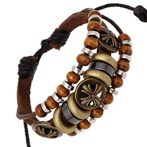 [Konalla Vintage Beaded Brown Genuine Leather Bracelet Multilayer Hemp Rope Wristband] (Homemade Kids Nurse Costumes)