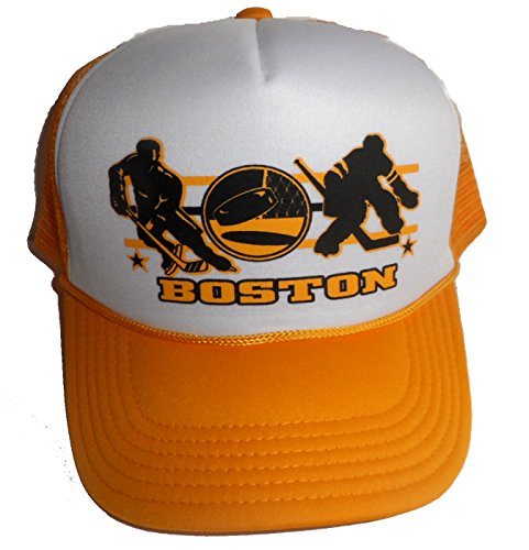 Boston Hockey Mesh Snapback Trucker Hat Cap Gold ()