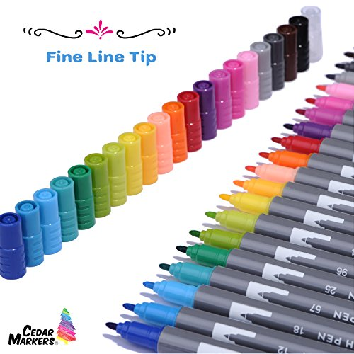 Cedar Markers Dual Brush Pens. 21 Calligraphy Pen Set with Free Hand Lettering Guide Book. Fine Liner and Brush Tip Markers. Colored Pens, Art Pens for Adult Coloring Book and Bullet Journal. (21 XL) by Cedar Markers (Image #7)