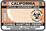 CALIFORNIA Type II Zombie Hunting Permit Sticker Size: 4.95x2.95 Inch (12.5x7.5cm) Decal