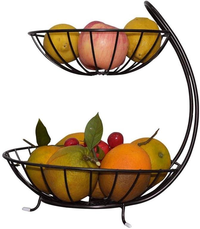 Schwarz Metall Obstkorb 2 Etagere Tischdeko Obstschale Fr/üchtekorb Obstteller Dekoration Zebroau Obst Etagere Aufbewahrung