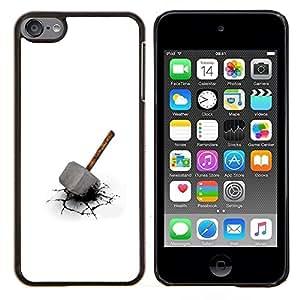 Qstar Arte & diseño plástico duro Fundas Cover Cubre Hard Case Cover para Apple iPod Touch 6 6th Touch6 (Martillo de Thor)