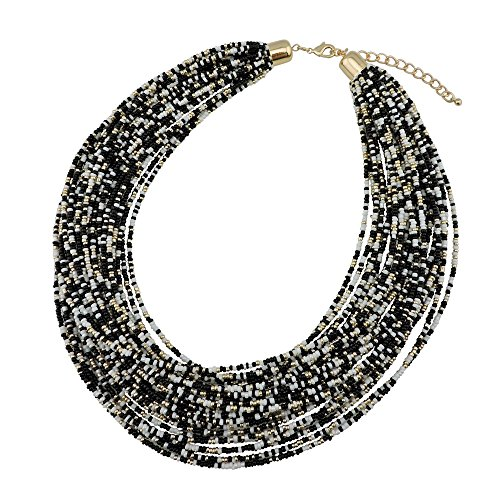 Bocar Multi Layer Chunky Bib Statement Seed Beads Cluster Collar Necklace for Women Gift (NK-10351-black+White)