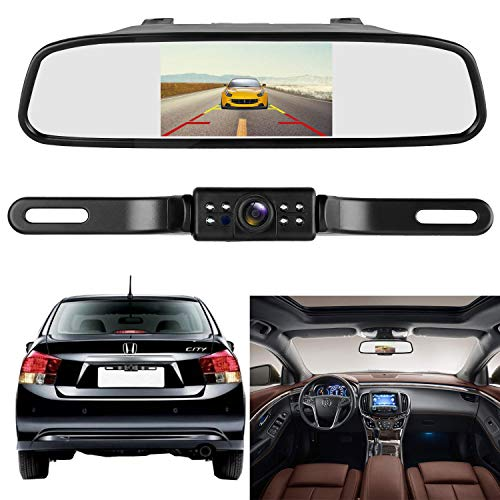 HD 720P Backup Camera System With 4.3 Mirror Monitor Kit For Cars,SUVs,Pickups,Trucks, Adjustable Rear Front View Camera Super Night Vision,Guide Lines On Off,IP69 Waterproof