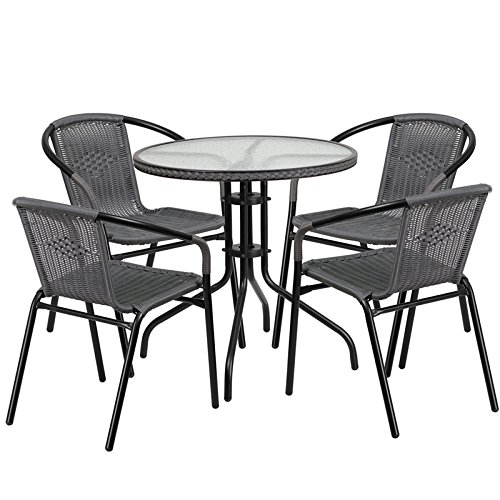 Flash Furniture Round Glass Metal Table with Rattan Edging and 4 Rattan Stack Chairs, 28