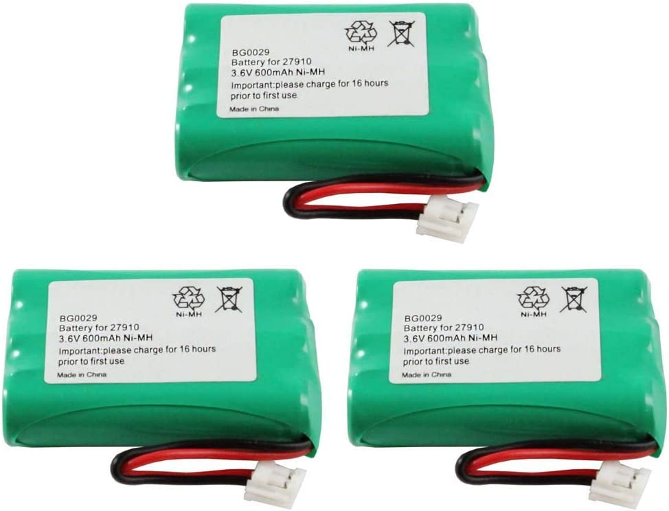 WalR Rechargeable Cordless Phone Battery Ni-MH, 3 Pack, for GE 27930GE6 27930GE7 27931 27931GE4 27931GE5 27931GE6 27931GE7 27935 27935GE3 27935GE3B 27936 27936GE3 27938GE1 27939GE3 27980