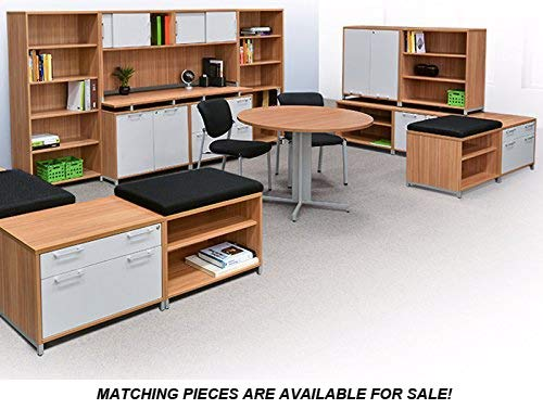 Modern Round Conference Table and Chairs Set, Office Meeting Room, Boardroom, Professional (42'' with 3 Armed Chairs, Java) by Office Pope (Image #3)