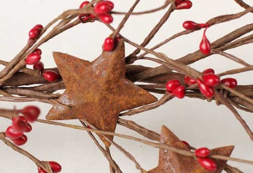 57 Inch Long Hand Wrapped Red Pip Berry Garland with Rusty Stars for Decorating Year Round -