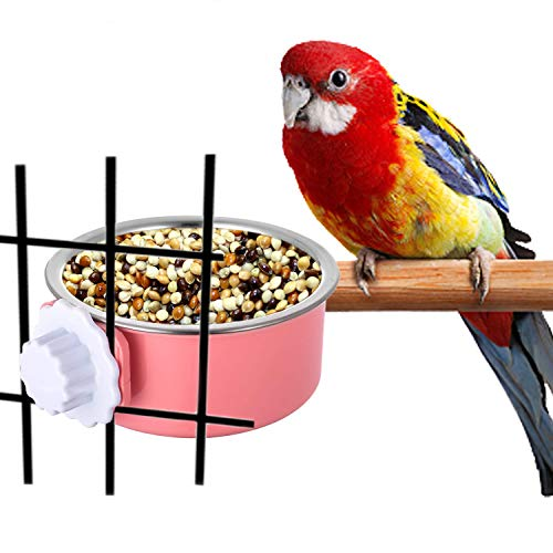 (RYPET Bird Cage Feeder - Stainless Steel Removable Hanging Food Water Bowl Cage Coop Cup for Birds, Rabbits, Dogs, Cats, Small Animals 14 Ounce)