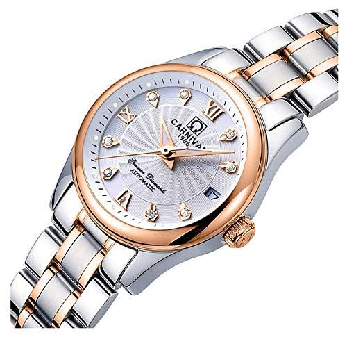 Women's Automatic Mechanical Watch Casual Fashion Analog Waterproof Stainless Steel Rose Gold Dress Watch