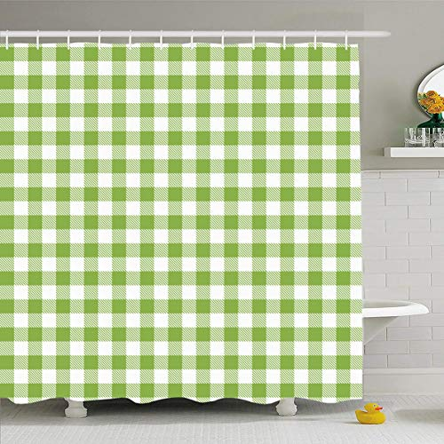 (Ahawoso Shower Curtain 66x72 Inches Scottish Cross Green Gingham Buffalo Check Plaid Wool Pattern Abstract Casual Checkered Classic Waterproof Polyester Fabric Set with Hooks)