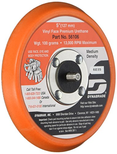 Vinyl Face - Dynabrade 56106 Vinyl-Face 3/8-Inch Thick Urethane Medium Density 5/16-Inch-24 Male Thread5-Inch Diameter Non-Vacuum Disc Pad