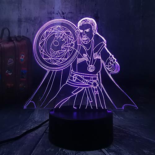 Price comparison product image Marvel Legends Cool Doctor Strange Avengers Action Figures 3D RGB LED Night Light Bulb Desk Lamp Home Decor New Year Christmas Gift Child Boy Kid Toys(Doctor Strange)