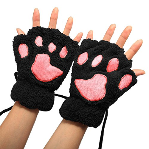 Women Winter Cute Cat Paw Fingerless Mitten Gloves Black