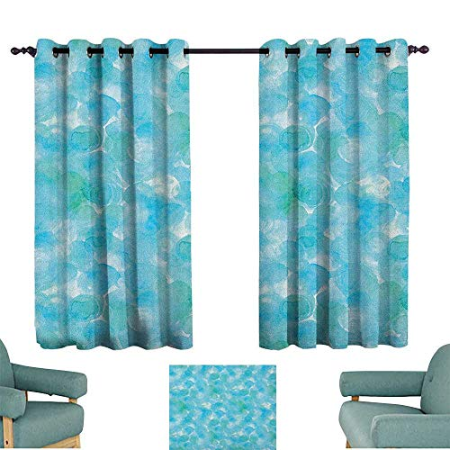 (WinfreyDecor Teal Drapes for LivingRoom Abstract and Expressionist Watercolor Art Design with Aqua Circles Pattern Suitable for Bedroom Living Room Study, etc.72 Wx63 L Aqua Blue Turquoise)
