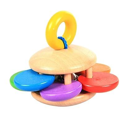 STOBOK Bebé Mano Jingle Bells con manija Trineo Juguetes de Instrumentos de música para niños niños pequeños (patrón de Flores): Juguetes y juegos