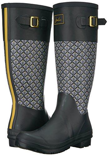 Botas Black negro de para Wadebridge Joules Lluvia Mujer Feather Geo wZSqY50