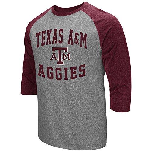 Texas Am Aggies Shirt (Colosseum Men's NCAA-Raglan-3/4 Sleeve-Heathered-Baseball T-Shirt-Texas A&M Aggies-Medium)