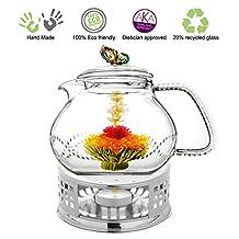 Glass Teapot with Tea Warmer Lead Free Special Glass No Drip by Tea Beyond (Metal, 24 oz Rainbow)