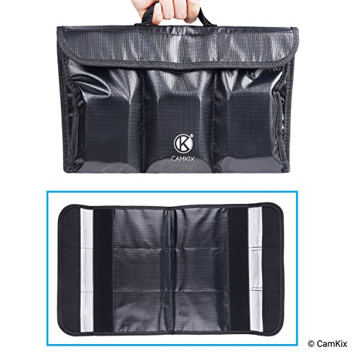 Fire Resistant LiPo Battery Carry Bag - Foldable - 6-Pockets - Safety and Storage Bag - For Safe Charging and Transport - Store and Organize up to 6 LiPo Batteries - Ideal Aircraft Luggage Solution