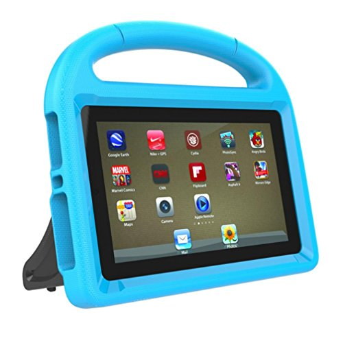 Pour Amazon Kindle Fire 7 2017 Couverture De Cas D'Ipad,Dinglong Antichoc EVA PoignéE Stand Retour Tablet PC Accessoires Enfants CréAtifs Cadeau D'Anniversaire (Bleu)