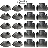 IBEUTES 20 Pack Malleable Iron Black 3/4' Elbow Pipe Fitting & Tees Pipe Fitting - Threaded Pipe Nipples For DIY Decor Or Industrial Vintage Style
