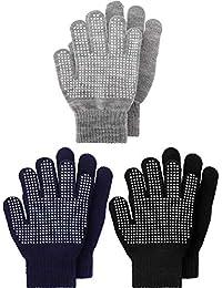 3 Pairs Kids Gloves Full Finger Mittens Winter Knitted...