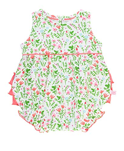 RuffleButts Baby/Toddler Girls Strawberry Fields Floral Knit Bubble Romper with Coral Ruffles - 12-18m