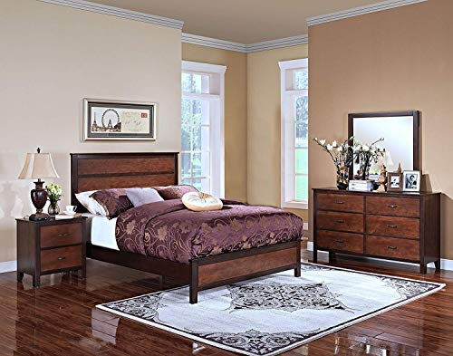 New Classic 00-145-25N Bishop 5-Piece Bedroom Set California King Bed, Dresser, Mirror, Two Nightstands, Two Tone