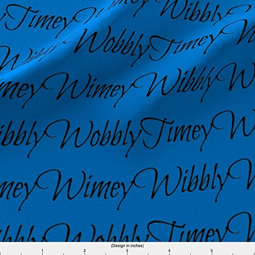 Wibbly Wobbly Fabric Wibbly Wobbly Timey Wimey Blue by Sunshineandspoons Printed on Fleece Fabric by the Yard by Spoonflower (Fabric Who Fleece Doctor)