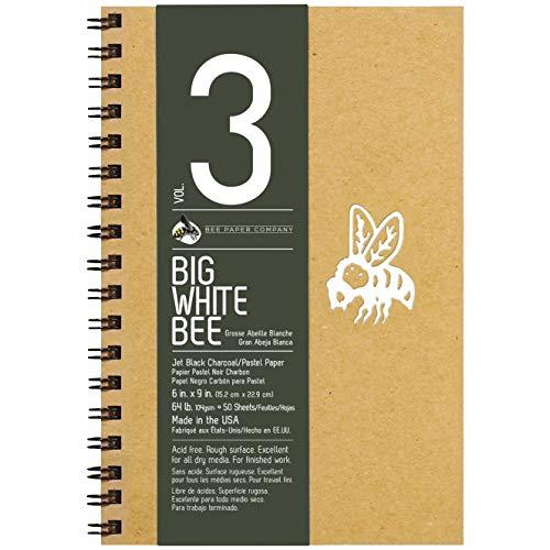 "Bee Paper Big White Bee Jet Black Charcoal/Pastel Paper 9"" x 6"""