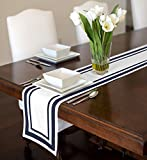 White and Navy Blue Modern Contemporary Stripe Hotel Collection Table Runner Mat Topper 12'' x 72''