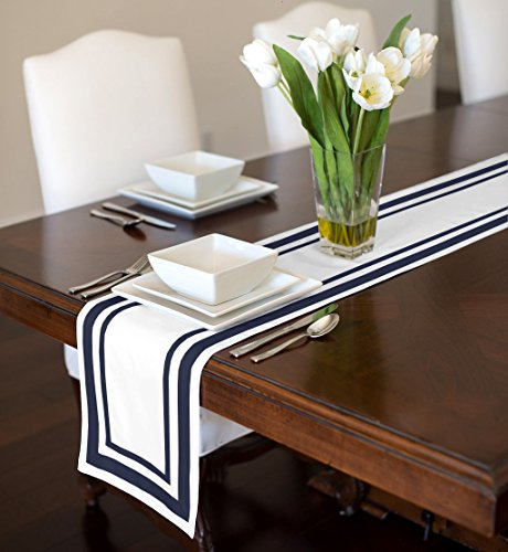 White and Navy Blue Modern Contemporary Stripe Hotel Collection Table Runner Mat Topper 12