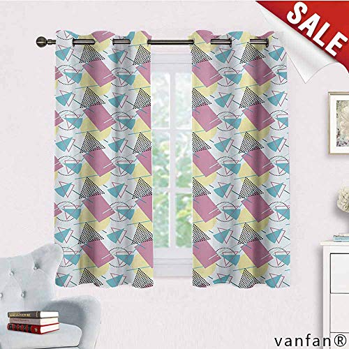 (Big datastore Window Curtain Panel Pair with Grommet Top,Retro,Pastel Colored Funky Geometrical Shapes from Eighties and Nineties Memphis Style,Indoor/Outdoor,2 Piecemulticolor,W55 Xl39)