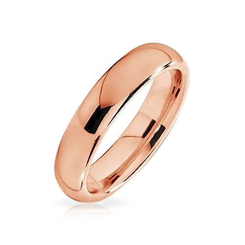 5d290ca7f Amazon.com: Bling Jewelry Plain Simple Thin Dome Couples Wedding Band Shiny Rose  Gold Plated Tungsten Rings for Men for Women Comfort Fit 4mm: Jewelry