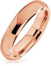 Plain Simple Thin Dome Couples Wedding Band Polished Rose Gold Plated Tungsten Ring for Men for Women Comfort Fit 4MM