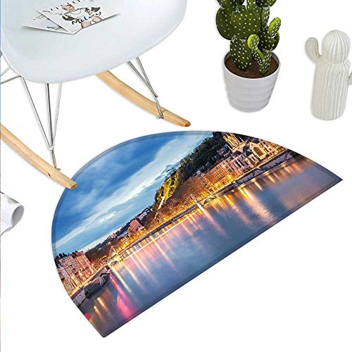 European Semicircular CushionView of Saone River in Lyon City at Evening France Blue Hour Historic Buildings Entry Door Mat H 35.4
