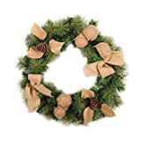 Xmas Wreath PVC Linen Garland with Lights for Summer Fall Everyday Christmas Holiday Front Door Decor Home Window Hotel